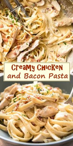 Creamy Chicken and Bacon Pasta - Rezepte - Chicken And Bacon Carbonara, Chicken Bacon Alfredo, Creamy Chicken Pasta, Bacon Pasta Recipes, Creamy Pasta Recipes, Chicken Recipes, Creamy Pasta Dishes, Dinner Outfits, Pesto Pasta