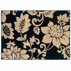 Campbell Black & Cream Floral Area Rug, 5x7 at Kirkland's