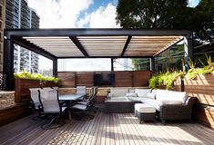At Chicago Roof Deck + Garden, we always say that the most important element of any roof deck (other than the decking itself) is a proper shade structure! Without a good shade structure, in Chicago, you are likely to getRead More › Steel Pergola, Pergola With Roof, Patio Roof, Rooftop Terrace Design, Rooftop Patio, Backyard Shade, Backyard Pergola, Pergola Designs, Patio Design