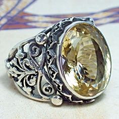Mens Ring 925 Sterling Silver yellow Lemon Topaz unique handcrafted jewelry #KaraJewels #Handmade