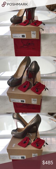 Christian louboutin Brand new with box all Authentic 100% Christian louboutin Loki 69 120 Nappa Laminato size 38 with 4 1/2 inch heel original price was $795 .please feel free to ask for additional pic or questions. Christian Louboutin Shoes Heels