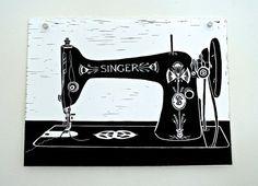 Singer linocut by NatalieHorvat on Etsy, $40.00