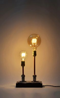 Beautiful Steampunk Table Lamp Made from Vintage Medical Plugs  #Bedroom #Bedside #DIY #Edison #Handmade #Industrial #Metal #Recycled #Rustic #simple #Steampunk Lamp design outcome of a former plug for air vacuum-oxygen in Hospitals. It is upcycled with electric fabric vintage cord in brown color and two E27 a...