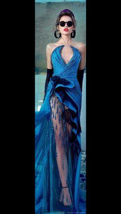 Nicolas Jebran Couture F/W 2013 jaglady Couture Fashion, Runway Fashion, Womens Fashion, Blue Fashion, High Fashion, Punk Fashion, Mode Glamour, Beautiful Gowns, Dress To Impress