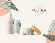 NATURAE - Skincare Products Branding - Care - Skin care , beauty ideas and skin care tips Skincare Packaging, Cosmetic Packaging, Beauty Packaging, Brand Packaging, Packaging Design, Branding Design, Logos Retro, Pharmacy Design, Web Design