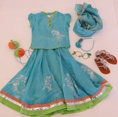 Girls traditional Indian dresses with sandals