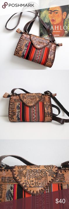 """Peruvian Tooled Leather Purse This listing includes a beautifully hand made leather bag. It shows various little scenes and Peruvian motifs and also features a brightly colored striped fabric panel. The strap length is adjustable, and has a little flaw (shown) due to its hand made nature. The dimensions for the bag are approximately 8""""x5""""x2.5"""" Bags Crossbody Bags"""