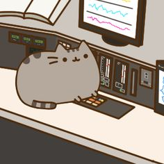 Pusheen touching the controls Gato Pusheen, Pusheen Love, Pusheen Plush, Kawaii 365, Kawaii Cute, Pusheen Stormy, Cute Kawaii Animals, Nyan Cat, Unicorn Cat