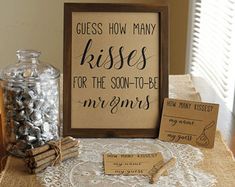 Guess How Many Kisses . Guess How Many Kisses for the Mr and Mrs . Bridal Shower Game . Wedding Shower Game . Couples Shower . Rustic .