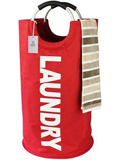 Thicken Laundry Bag with Alloy Handles for College, Camping and Home, Heavy Duty and Durable Canvas Utility, Shopping or Travel Bag, Collapsible and Self Standing as Laundry Basket (Red) ❤ Homiak