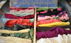 11 ways to have a grown up closet, closet, organizing, Shirts folded in fourths help you see all of them and see space