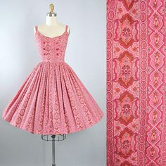 Vintage 50s  Dress / 1950s Cotton Sundress Pink Red  FLORAL