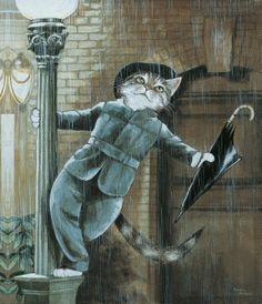 Ronroneando bajo la lluvia, de Gatos de película, Susan Herbert. Colección Gatos de Lata de Sal
