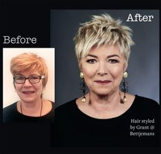 Before and After … Bettjemans Hairdressers short hairstyles for mature women smoky pink, to micro braids, we asked the experts for 2019 & most important hair trends.Sharalee from Sharalee's Box of ChocolatesBest Pixie Cuts 2019 « Funky Short Hair, Short Choppy Hair, Short Grey Hair, Edgy Hair, Short Hair Cuts For Women, Short Hairstyles For Women, Hairstyles Haircuts, Short Haircuts, Short Blonde Pixie
