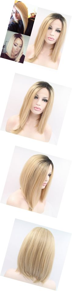Wigs and Hairpieces: Fennell Natural Looking Short Bob Lace Front Wig Synthetic Blonde Ombre Wigs For BUY IT NOW ONLY: $47.4