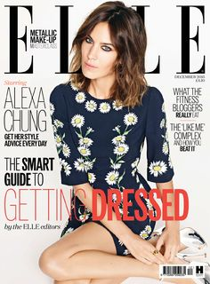 Alexa Chung stars as a cover girl for the December 2015 issue of British Elle, photographed by Matt Irwin and styled by Anne-Marie Curtis.