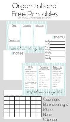 Organization Board Family Command Center - Girl Loves Glam Organizational Free Printables including cleaning list, blank cleaning list, menu, notes and calendar on Household Organization, Storage Organization, Family Organization Wall, Bathroom Organization, Printable Planner, Free Printables, Schedule Printable, Family Command Center, Command Centers
