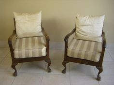 Vintage Imbuia Ball and Claw Chairs Vintage Chairs, Modern Office Decor, Chair, Refurbished Furniture, Vintage House, Furniture Repair, Home Decor, Modern Upholstery, Furniture