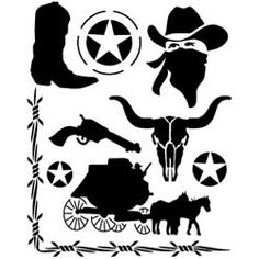 Cowboy Leathercraft Stencil Painted Hats, Hand Painted, Wild West Party, Tandy Leather, Sign Stencils, Cup Art, Chalk Drawings, Scroll Saw Patterns, Silhouette Cameo Projects