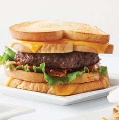 Take summer's favorite sandwich, the BLT, to the next level. Make it into a burger with a grilled cheese sandwich bun.