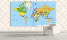 Large Office World Map Canvas Wall Decor of 3 4 by CanvasFactoryCo Framed Maps, Framed Wall Art, Wall Art Prints, Canvas Prints, Canvas Wall Decor, Canvas Frame, Canvas Art, Modern Artwork, Contemporary Art