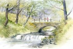 Rachel Mcnaughton - 234 - On the Bridge. Watercolor Painting Techniques, Watercolor Landscape Paintings, Landscape Drawings, Art Paintings, Landscapes, Watercolor Water, Watercolor Canvas, Watercolour Painting, Watercolours