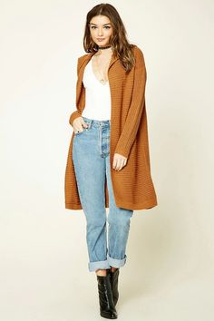 Style Deals - A longline cardigan crafted from a ribbed knit featuring a hood, an open front, and long sleeves.