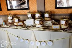 Cookie Bar- Umm I would love to go to a reception with a cookie bar or a candy bar.  And we could make the cookies in advance and freeze them- so affordable too!