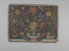 Cushion cover Date: second quarter 17th century Culture: British Medium: Silk and metal thread on canvas Dimensions: H. 10 x W. 13 1/4 inches (25.4 x 33.7 cm); Framed: H. 14 x W. 16 3/4 x D. 1 1/4 inches (35.6 x 42.5 x 3.2 cm) Classification: Textiles-Embroidered