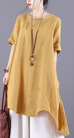 Loose yellow linen tunic pattern o neck Button Down baggy summer shirts Linen Tunic, Linen Blouse, Linen Tops, Womens Linen Clothing, Tunic Pattern, Yellow Shirts, Summer Shirts, Summer Dresses For Women, Plus Size Tops