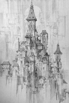 castle art - Incredible Pen Drawings Visualize Futuristic Cities With Densely Detailed Architecture Architecture Sketchbook, Art Sketchbook, Architecture Art, Amazing Architecture, Castle Drawing, City Drawing, Castle Sketch, Fantasy Castle, Fantasy Art