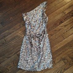 """Sequin party dress Multicolored with taupe base very unique sequin dress with roushe twist on side. One shoulder, short, lined, only worn once. Comfortable and slightly stretchy. Bought from Macy's downtown Manhattan NYC store :) brand is called """"As u wish"""" Macy's Dresses Prom"""