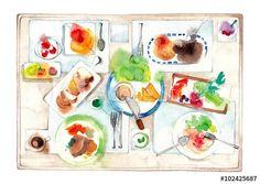 賑やかな食卓、淡色