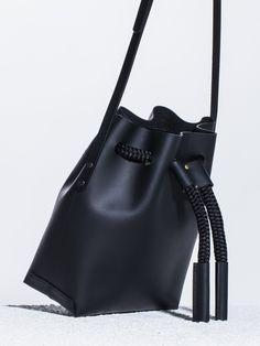 The Stowe Brady Bucket Bag Black Leather Side