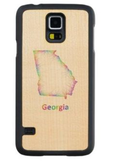 Rainbow Georgia map Maple Galaxy S5 Case $49.65 *** Rainbow Georgia state map from multicolored curved lines - Samsung Galaxy S5 wood case