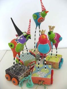 funky paper mache birds