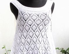 Beach Dress / swimwear cover up. White by CROCHEThatsBYolga