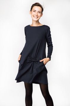 Vestido con lazo | Vestido de otoño | Vestido azul oscuro | Vestido de LeMuse con arco de LeMuse en Etsy https://www.etsy.com/es/listing/248056469/vestido-con-lazo-o-vestido-de-otono-o