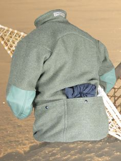 Rear view of Grey Fox Pullover in 100% Wool, Olive