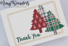 Stampin' Up! Pine Tree Punch Thank You Card & Mini Curvy Keepsake Box Christmas Thank You, Boxed Christmas Cards, Handmade Christmas, Holiday Cards, Christmas Crafts, Free Thank You Cards, Some Cards, Card Envelopes, Keepsake Boxes
