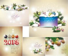 Elegant classic Christmas cards and Happy New Year with glove vector