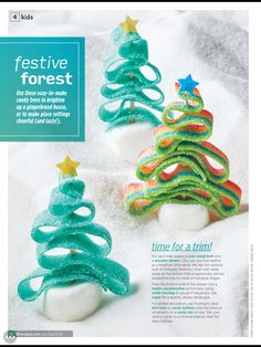 """Festive forest"" from Allrecipes Dec 2017 / Jan Read it on the Texture app-unlimited access to 200 top magazines. Cool Gingerbread Houses, Gingerbread House Designs, Gingerbread House Parties, Gingerbread Village, Christmas Gingerbread House, Christmas Sweets, Christmas Cooking, Christmas Goodies, Christmas Candy"