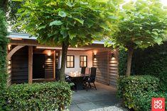 Outdoor Living Rooms, Outdoor Spaces, Garden Structures, Outdoor Structures, Yellow House Exterior, Colonial House Exteriors, Diy Garden Furniture, Pergola With Roof, Garden Landscape Design