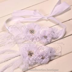 Vintage Rosette and Rhinestone Sash & Headband Set - White