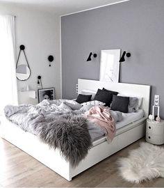 Pink gray and white bedroom ideas com inspiration minimalist home decor ideas white interior modern vintage Gray Bedroom Walls, Bedroom Green, Bedroom Colors, Home Decor Bedroom, Bedroom Ideas, Bedroom Black, Diy Bedroom, Grey Walls, Bedroom Inspo