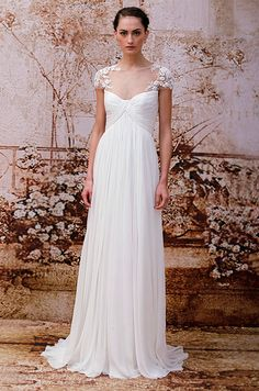 Love the illusion sleeves on this Monique Lhuillier Fall 2014 wedding dress.