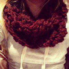 Maroon infinity crochet scarf