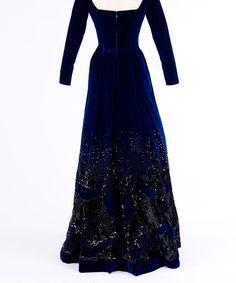 Dark Blue Velvet Dress   Rear view of dark Blue Velvet Evening Dress (website by Doris Yee)
