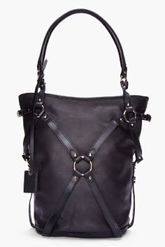 McQ Alexander McQueen Black Tumbled Leather Bridle Hobo Bag for Women | SSENSE