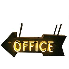 Black Double Sided Neon Office Sign circa 1940s ❤ liked on Polyvore featuring mecanico placas